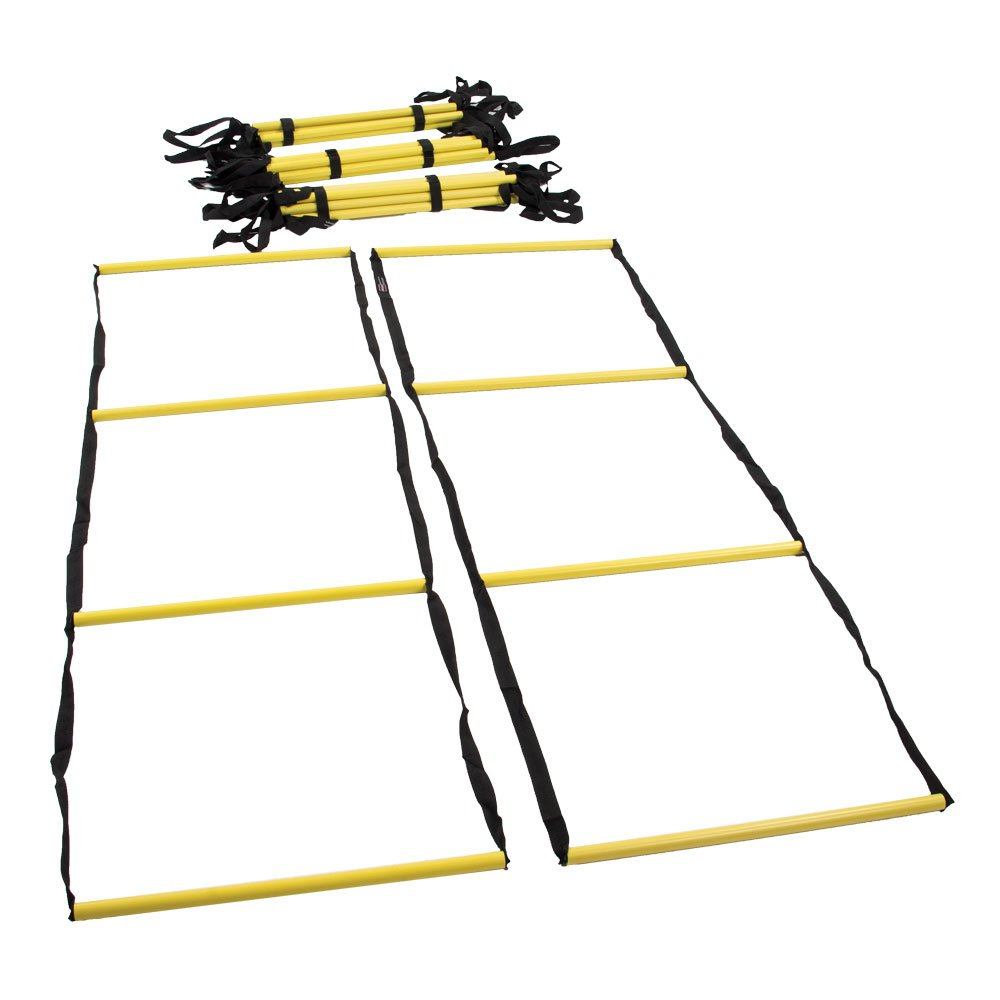 Power Systems Impulse Agility Ladder Course with Multiple Configurations, 5-Sections From 5-10 Feet Each, Black/Yellow (30696)
