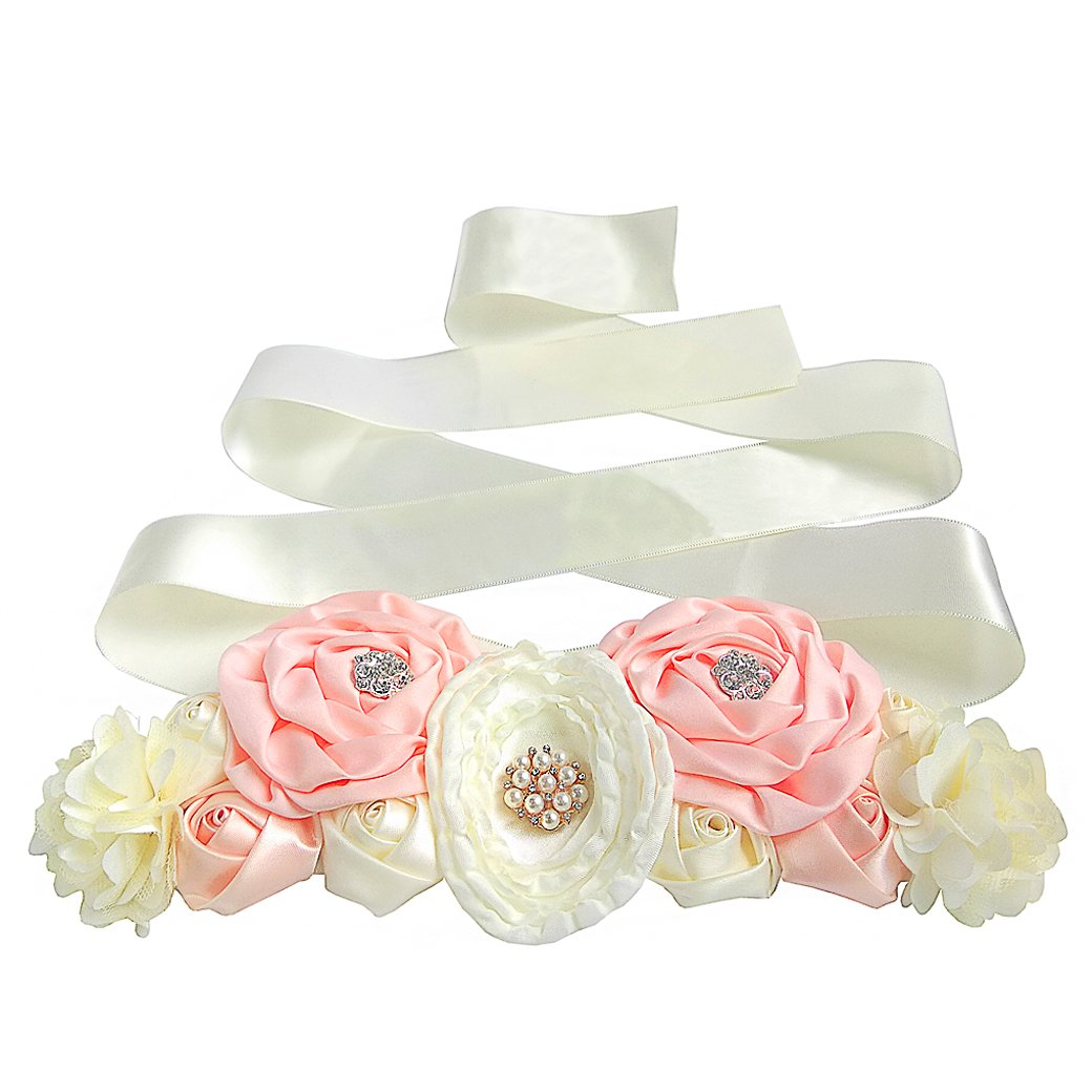 Aoneky Floral Maternity Waist Belt Flower Ribbon Tie for Women Girls Pregnant Baby Shower Party Photoshoot