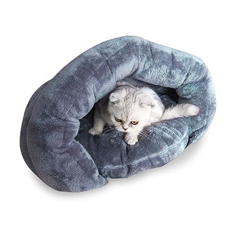 Xinjiener Saco de Dormir para Gatos Casa de la Cama para Mascotas con cojín extraíble Saco