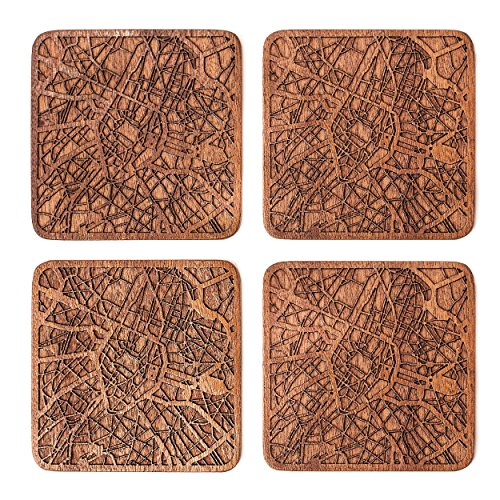 Brussels Map Coaster by O3 Design Studio, Set Of 4, Sapele Wooden Coaster With City Map, - Brussel Wood