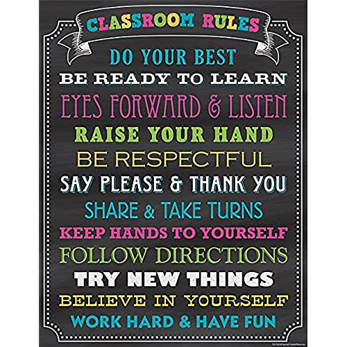teacher created resources chalkboard brights classroom rules chart 7565