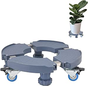 LVLING Adjustable Size Plant Flower Pot Stand with Wheels Heavy Duty Removable 15-20 Inch Plant Caddy Rack on Rollers Flower Pot Stands on Wheels for Indoor Outdoor Home Garden 600lbs Capacity