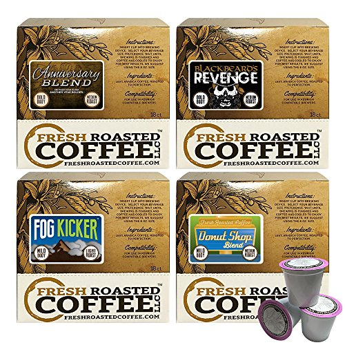 Mild Artisan Blend Variety Pack Single-Serve Cups, 72 ct. of Single Serve Capsules for Keurig K-Cup Brewers, Fresh Roasted Coffee LLC.