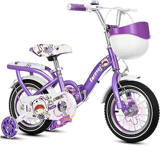 SGMYMX Bicicleta para niños Bicicleta Plegable para niños niña ...