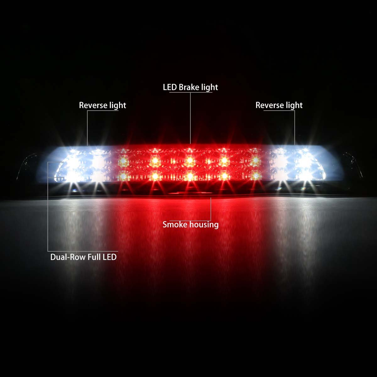 DNA Motoring Black Smoke 3BL-TTU07-LED-BK-SM LED 3rd Third Brake Light for 07-18 Tundra