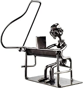 Pianist Handcrafted Metal Musician Décor Figurine, Size 7 inch