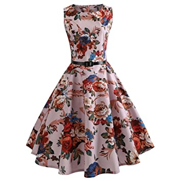 Women Vintage Dress,Rakkiss Printing Sleeveless Casual Evening Party Prom Swing Dress