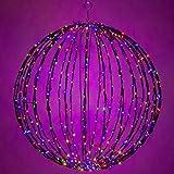 LED Light Ball – Indoor / Outdoor Christmas Light Balls, Light Spheres Outdoor / Sphere Light Fold Flat Metal Frame (32'', Black Frame / Multicolor Lights)