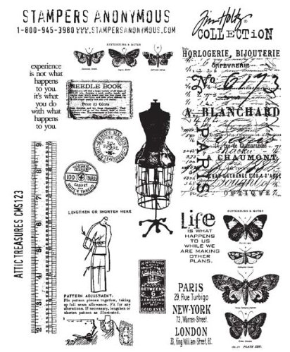 Tim Holtz Cling Stamps 7x8.5-Attic Treasures