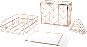 U Brands Desktop Filing Set, Rose Gold, 10 Piece