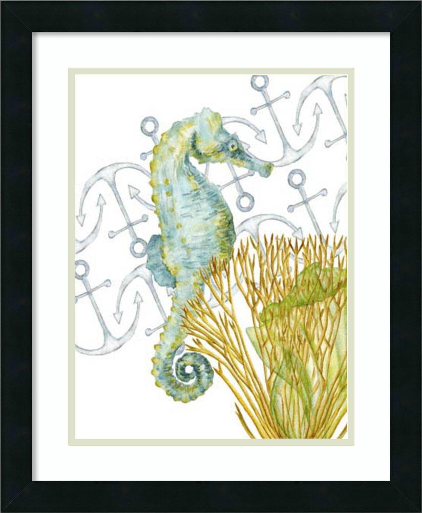 アートフレーム印刷'海底生物I Seahorse ' by Melissa Wang Size: 18 x 22 (Approx), Matted ホワイト 3981220 Size: 18 x 22 (Approx), Matted Mezzanotte Black,mat:smooth Bright White B072LXSGZZ