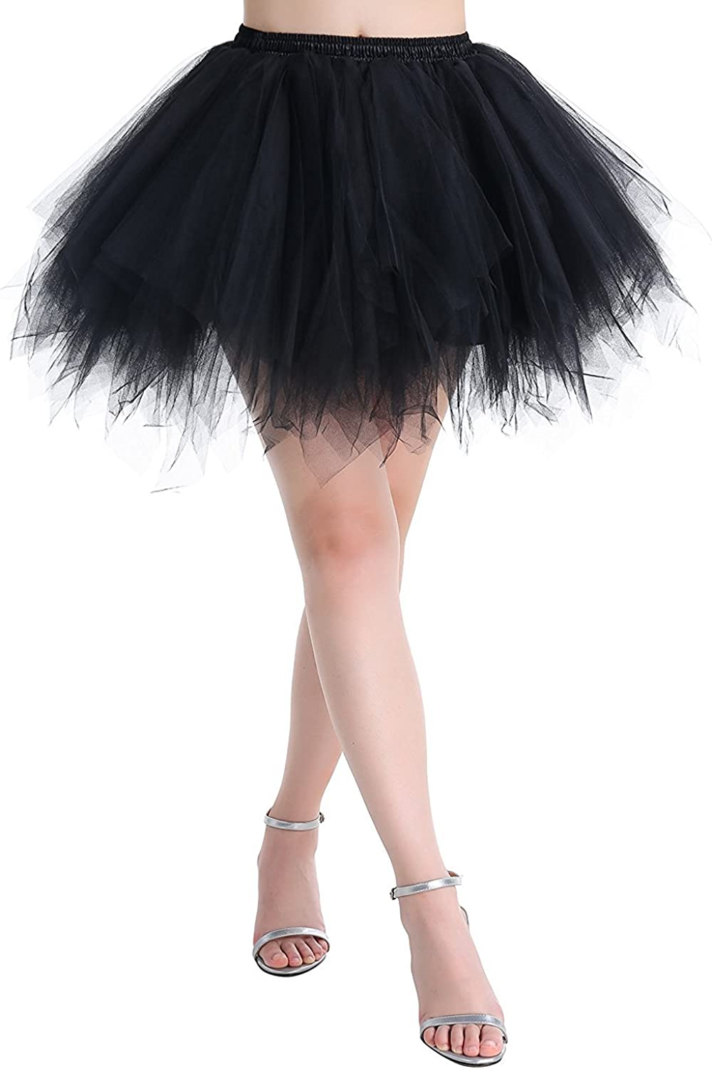Women 80s Tutu Skirt Layered Tulle Petticoat Halloween Tutu Dance Skirt 18 Colors
