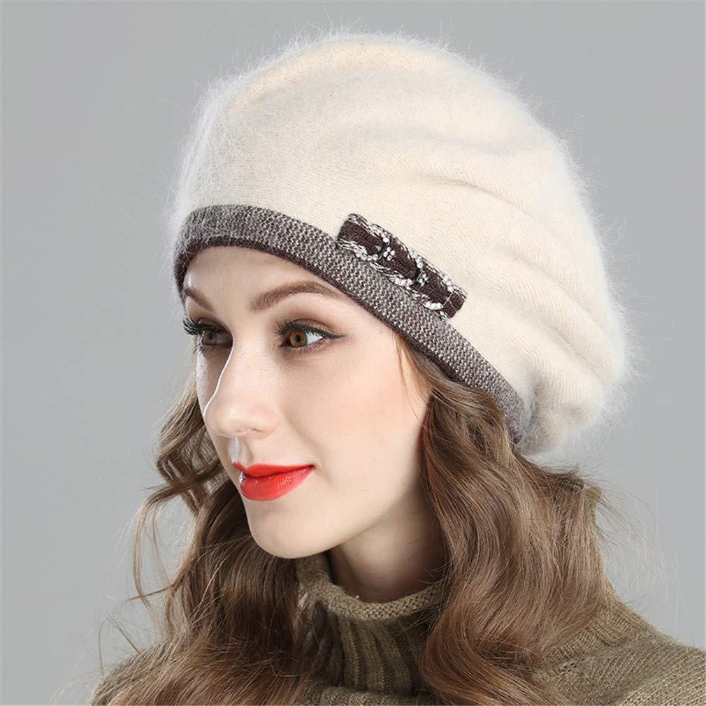 94dbde3573094 Amazon.com   New Style Women s Winter Beret Knitted Wool Angora Beret  European Style Decoration Double Warm Hat C03 Suit for 54CM-60CM   Beauty