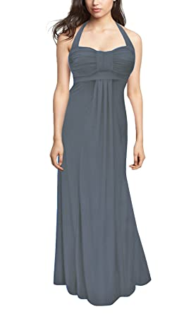 BlackButterfly Long Elegant Wedding Evening Prom Maxi Dress (BBD014H) (12, Silver Grey