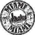 Miami City Florida USA United States Travel Grunge Stamp Sticker Decal Design 5'' X 5''