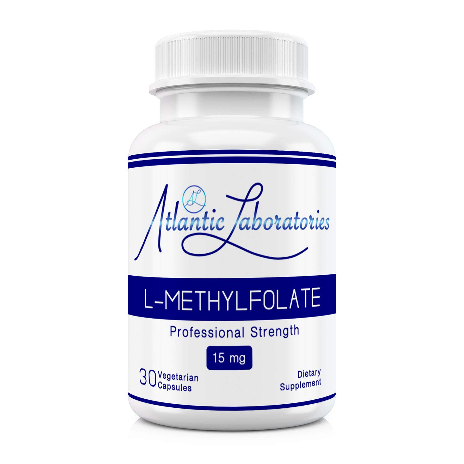 Atlantic Laboratories (5-MTHF) L-Methylfolate 15 mg - 15000 mcg - 30 Vegetarian Capsules - Professional Strength Active Folate, Filler & Gluten Free, Non-GMO by Atlantic Laboratories