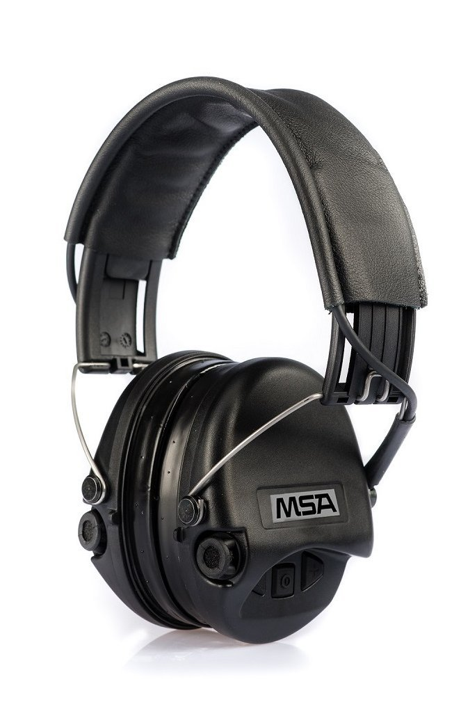 MSA Sordin Supreme Pro SOR75302-02-G - Electronic Earmuff with leather band, black cups and gel seals fitted, Active Eardefenders Headset