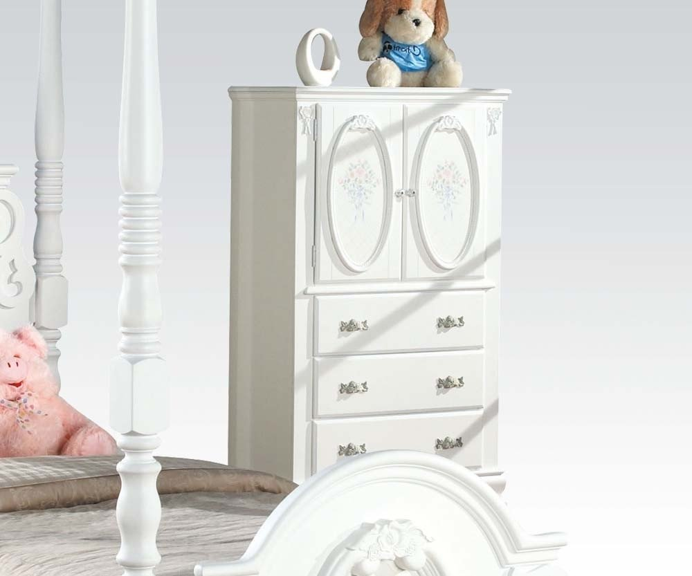 ACME 01667 Flora TV Armoire with Hanging Rod, White Finish