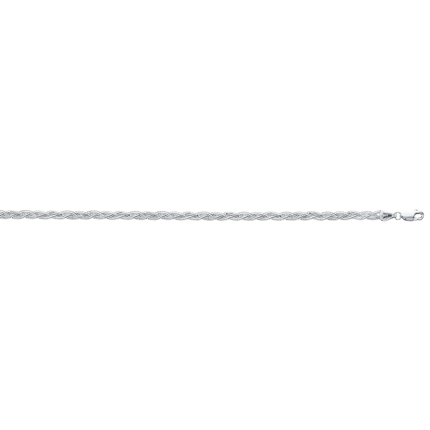 Luxurman 14K White or Yellow Solid Gold 3.5mm Diamond Cut Braided Fox Chain Bracelet Anklet Lobster Claw