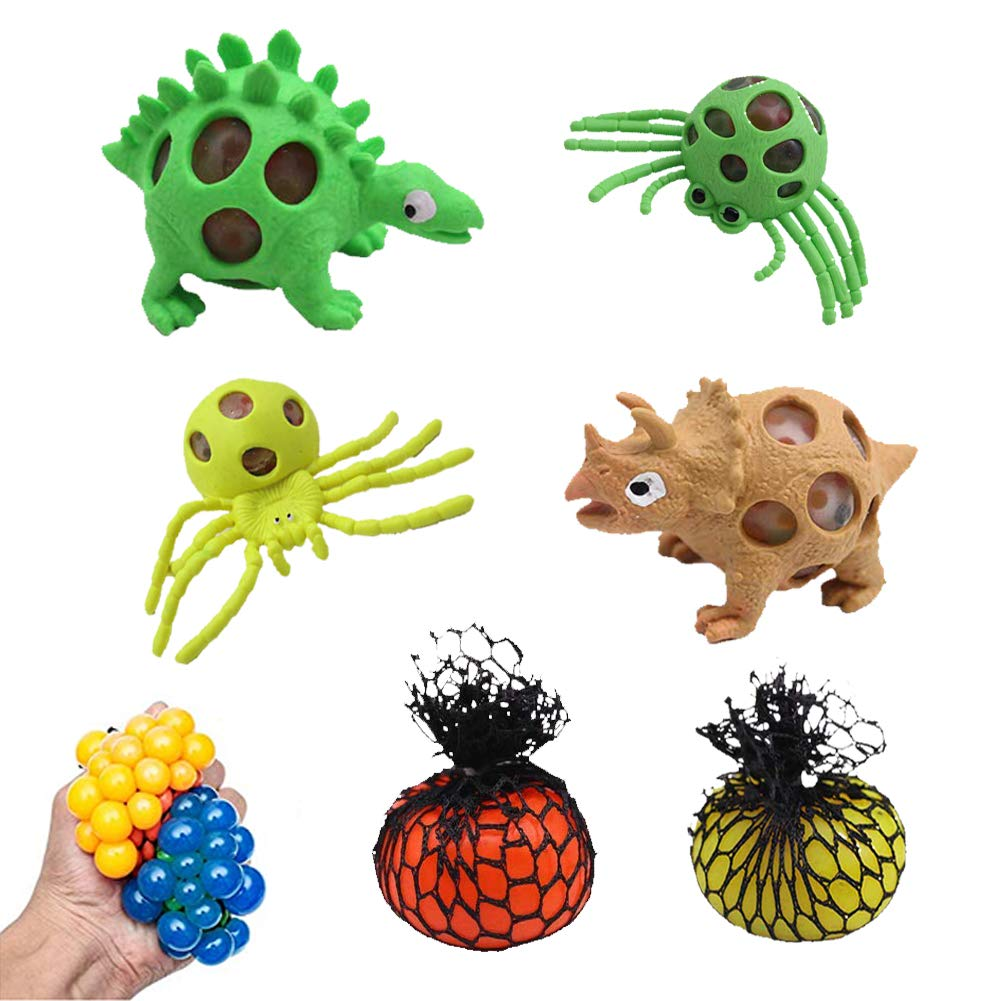 LovesTown Stress Squeeze Toys ,6PCS Random Color Squishy Balls Mesh Grape Dinosaur Spider Extruded Balls Stress Relief Toys Vent Toys for Reduce Stress Anxiety