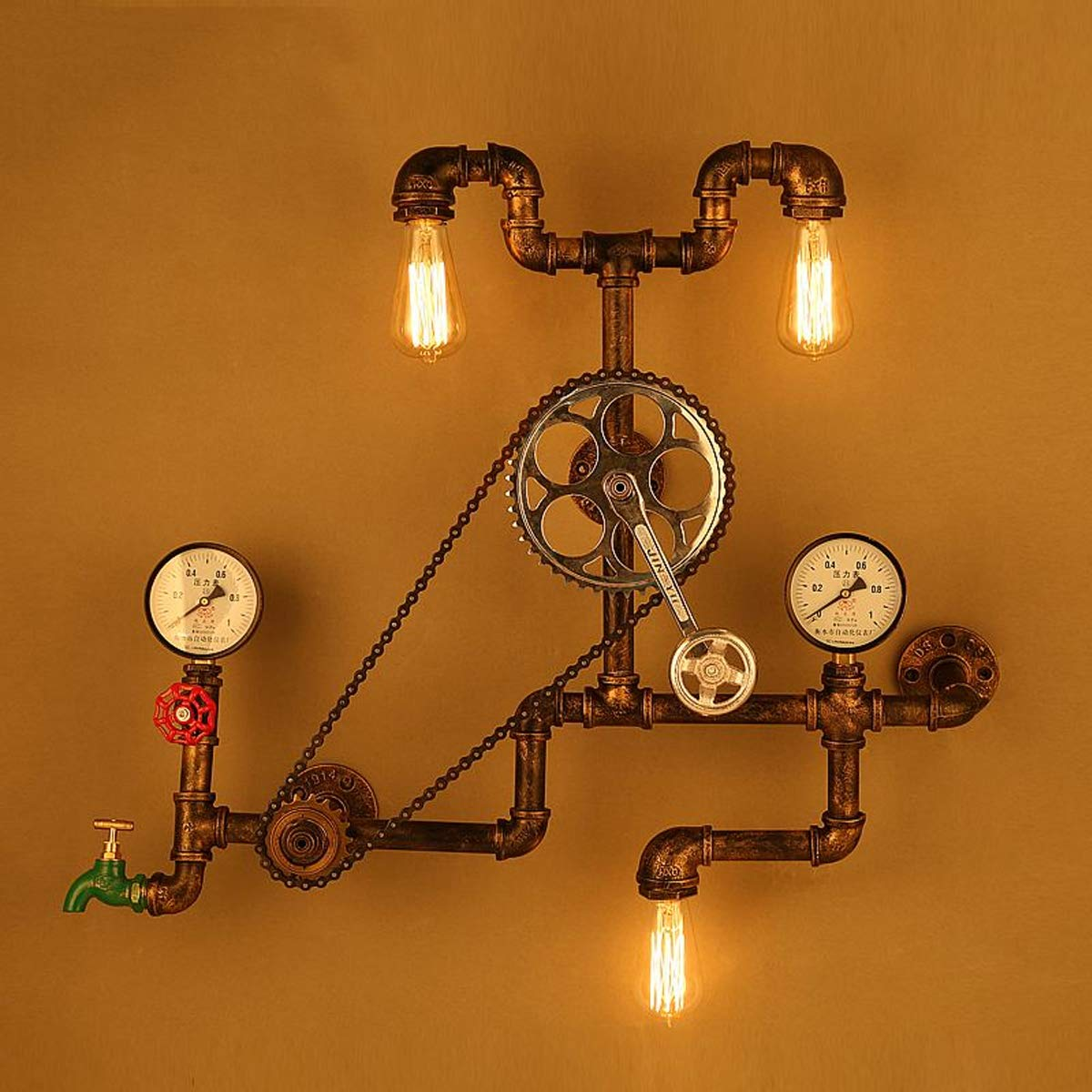 Steampunk Industrial 1//2 Black Iron Pipe Rotary Lamp Stop Light Switch