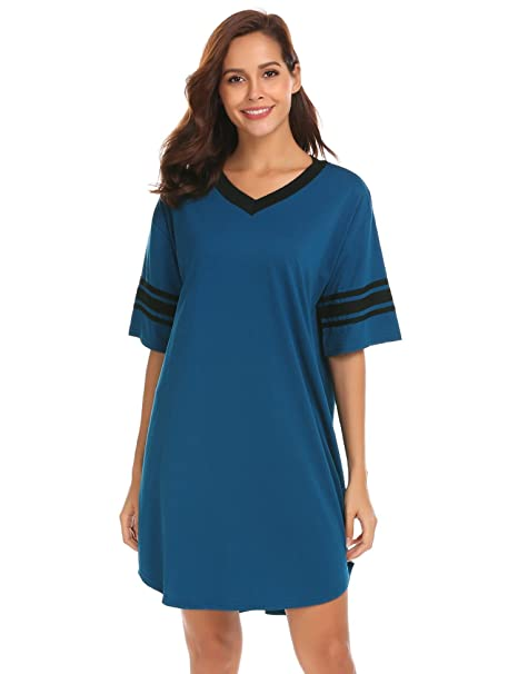 6f7a5cc9d Skylin Cotton Sleep Shirts Women s V Neck Short Sleeve Knee Length  Nightgown (Blue