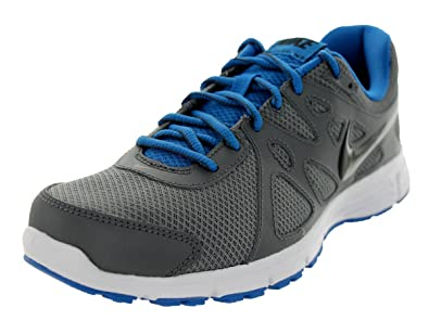 14f5ab4b822d Nike Mens Air Revolution 2 Running Shoe Dark Grey Military Blue White Black