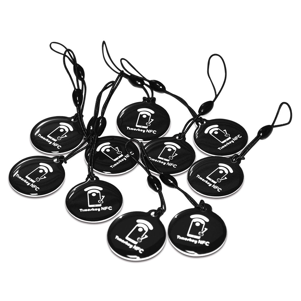 10 X NTAG215 NFC Keyfob NFC Tags for TagMo and Amiibo, Compatitable with All NFC Enable Android Phones Device and Gaming Console by TimesKey (10pcs Black)