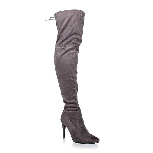 f96e085fb62bda Donna Tacco Alto Elasticizzato Coscia Alta Stivali sopra Il Ginocchio  Numero: Amazon.it: Scarpe e borse