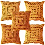 Sophia Art By 5 Pcs Beautiful Embroidered Mirror Work Embroidery Indian Sari Throw Pillow Toss Cushion Covers (Brown)