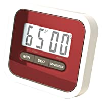 REALMAX® Magnetic Digital LCD Clock 24 Hours Kitchen Cooking Timer Counts Down and Up Clip Egg Chef Fridge Beep [Energy Class A+++] Red