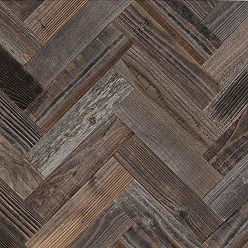 Epic Artifactory DIY Reclaimed Barn Wood Wall - Herringbone Pattern - Easy Peel and Stick Application- 20 Square Feet