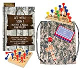 Get Well Gifts for Men - Get Well Soon Activity Book for Men, 3 Puzzles/Games (Triangle Game, Tic Tac Toe, Kendama), Deck of Playing Cards, Inspirational Bookmark and Drawstring Bag (7 Piece Set)