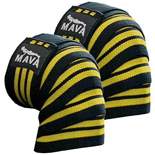 Mava Sports Knee Wraps (Pair) with Velcro for Cross Training WODs,Gym Workout,Weightlifting,Fitness & Powerlifting