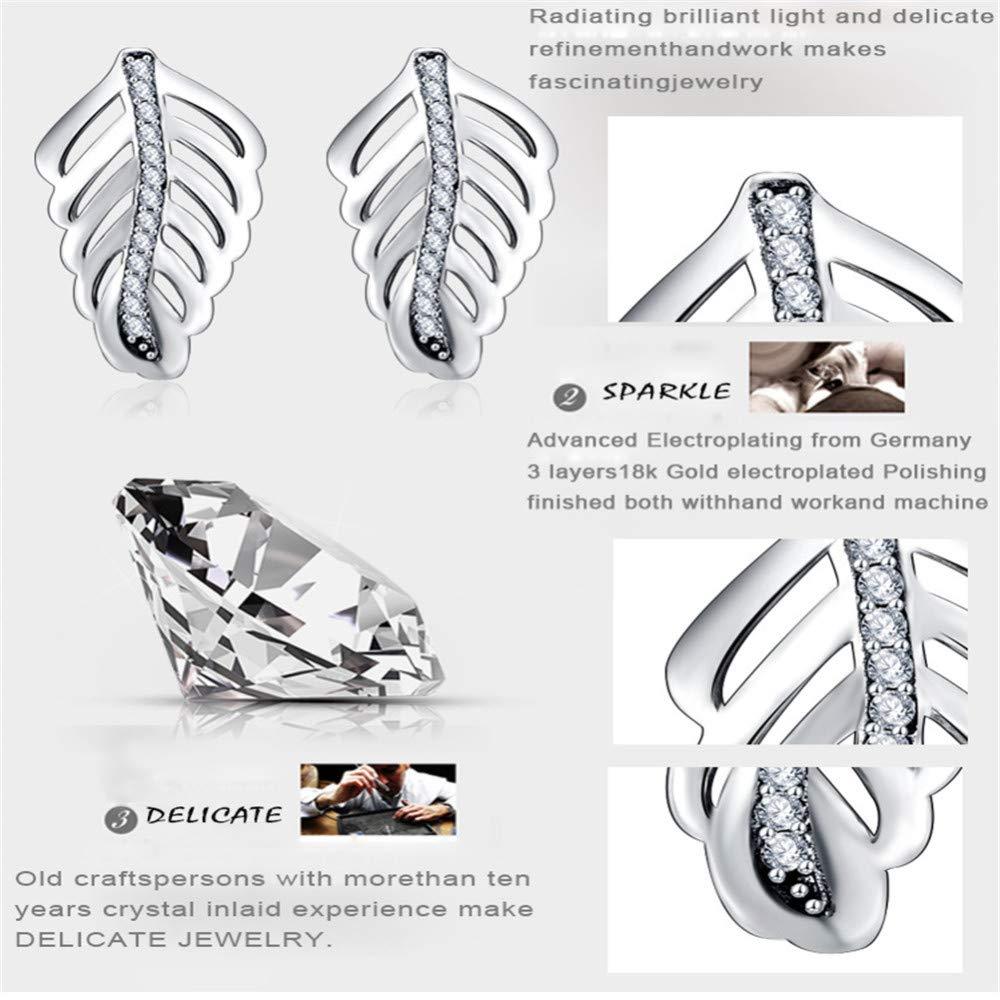 MOOKO 925 Sterling Silver Stud Earrings For Women Ethnic Wind Banana Leaf Shaped Diamond Stud Earrings Hypoallergenic /& Nickle Free Jewellery For Sensitive Ears.