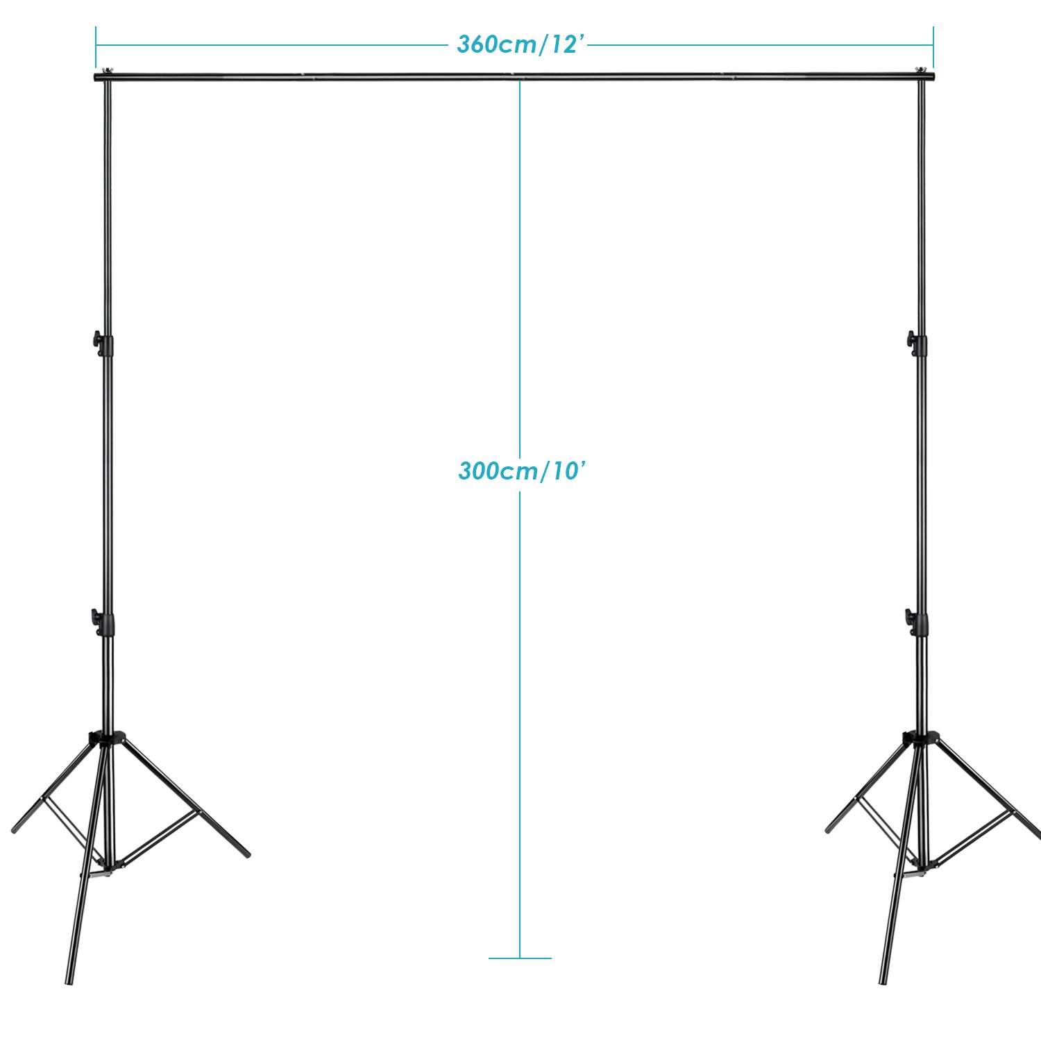 Neewer Pro 10x12 feet/3x3.6 Meters Heavy Duty Adjustable Backdrop Support System Photography Studio Video Stand with Carrying Bag for Backdrop Background by Neewer (Image #3)