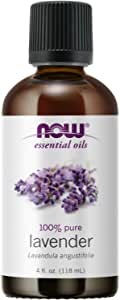 NOW Essential Oils, Lavender Oil, Soothing Aromatherapy Scent, Steam Distilled, 100% Pure, Vegan, Child Resistant Cap, 4-Ounce