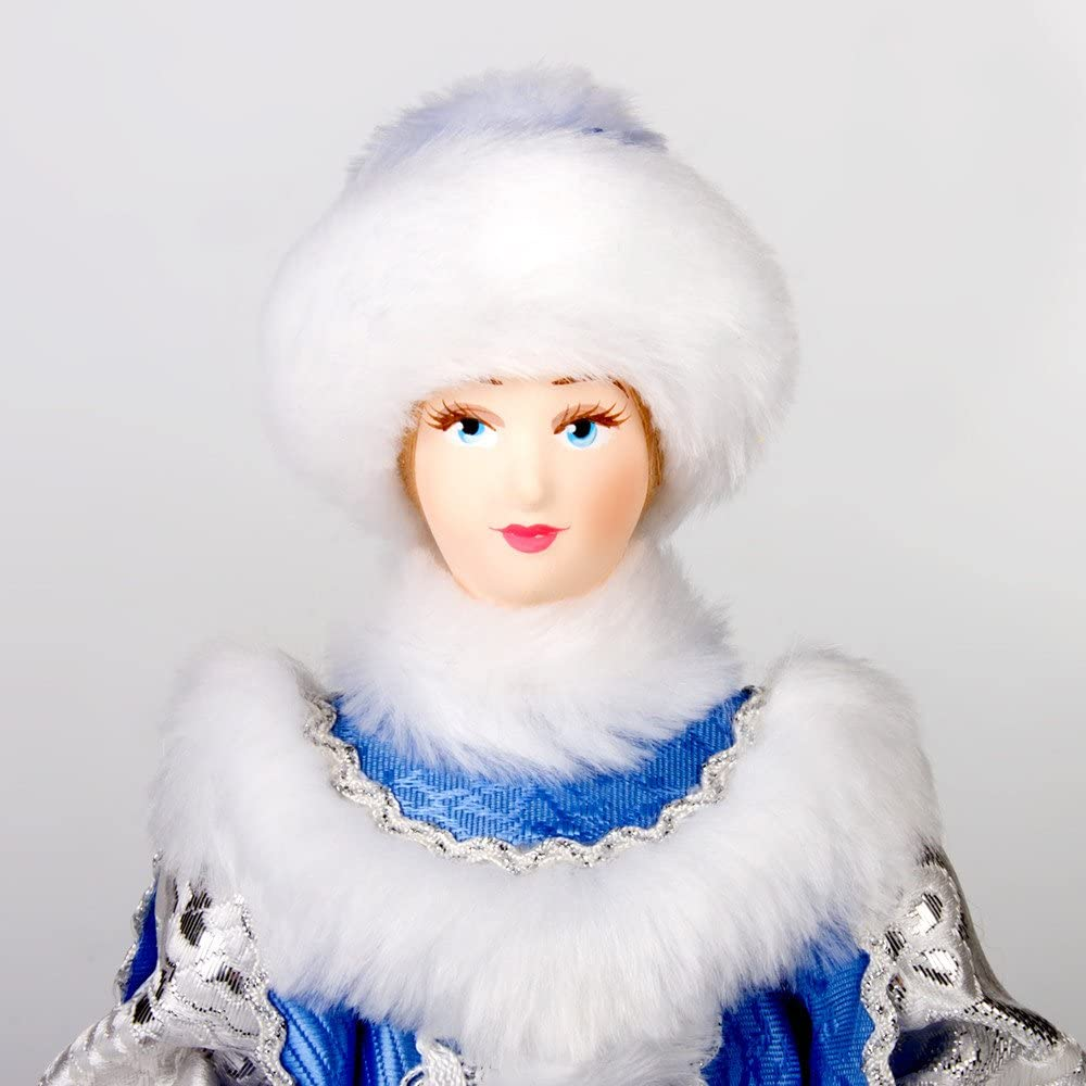 Snow Maiden in Blue Fur Coat 11-Inch Collectible Doll Snegurochka Doll Kukla Figurine
