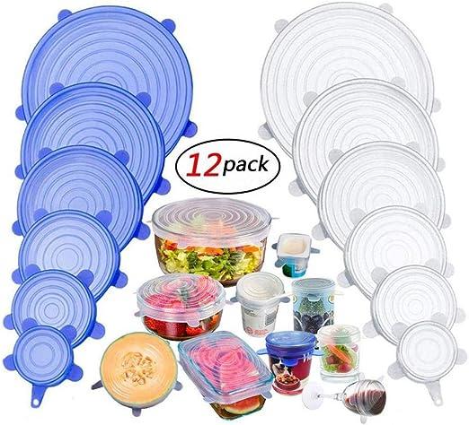 Tapas de Silicona El/áSticas,Fundas Protectoras para Alimentos,6 Paquetes de Varios Tama/ños Extensible Reutilizable Proteger Los Alimentos para Recipientes Tapa,Tazones y Tapas De Comida