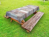 Lunarable Rustic Outdoor Tablecloth, Retro Style Old Fashioned Cabin Lumber Wall Boarding Building Panel Structure, Decorative Washable Picnic Table Cloth, 58 X 120 inches, Brown Pale Green