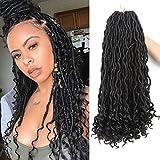 Goddess Faux Locs Crochet Hair Wavy Body Curly Ends Braiding Hair Extension Synthetic Goddess Locs Crochet Braids Natural Black African Soft Bouncy Dreadlocks Bohemian Havana Hairstyles(6packs,1B#)