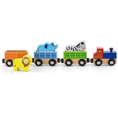 VIGA - Juego de Tren de Animales Wooden Zoo: Juguetes y juegos
