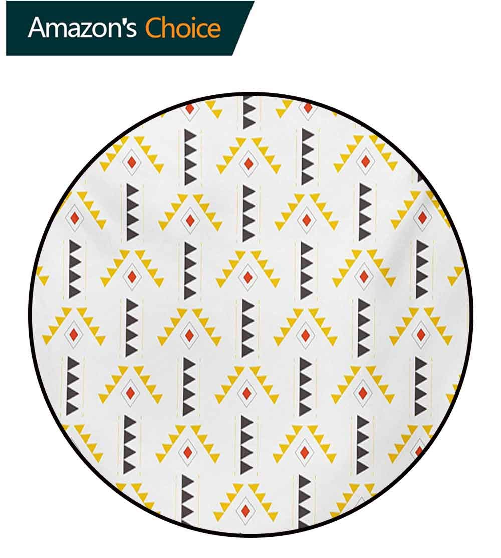 Yellow And White Rug Round Home Decor Area Rugs,Ethnic Pattern With Rhombuses Triangles Digital Composition Non-Skid Bath Mat Living Room/Bedroom Carpet,Diameter-55 Inch Orange Yellow Dark Taupe