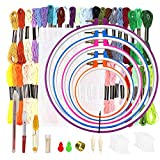 Embroidery Kit, Full Range of Cross Stitch Kits Including Magic Embroidery Pen Set,Bamboo Embroidery Hoop, 50 Color Threads, 14 Count Classic Reserve Aida for Beginner
