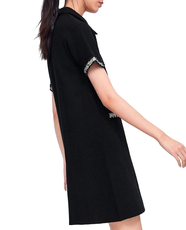 Zara 6254/011 - Vestido para Mujer con Botones de Perlas - Negro ...