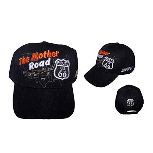 Route 66 The Mother Road Map Baseball Caps Hats For Adults ... fa674b367678