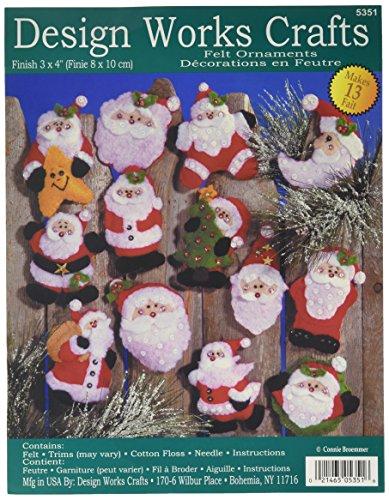 Tobin Lots of Santa's Ornaments Felt Applique Kit, 3-Inch by 4-Inch, Set of 13 (Applique Felt Santa)