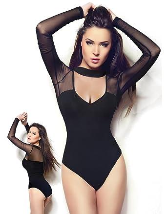 miorre Body Top Qualité Souple Élégant Col Rond Manches Longues Femme (S M) 0973c784556