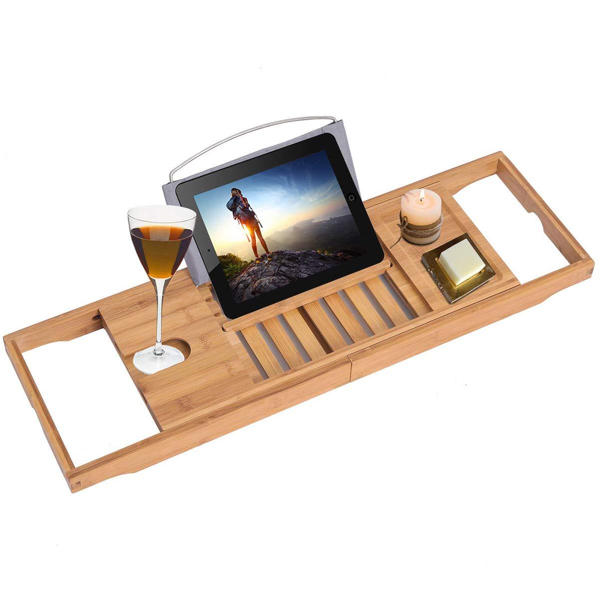 BonusAll Luxury Bathtub Caddy Tray Bamboo Adjustable Organizer Tray One Or Two Person Bath Tray Cellphone Tray and Wine Glass Holder