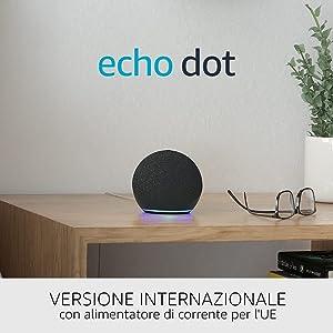 Nuovo Echo Dot (4ª generazione), versione internazionale - Altoparlante intelligente con Alexa - Antracite